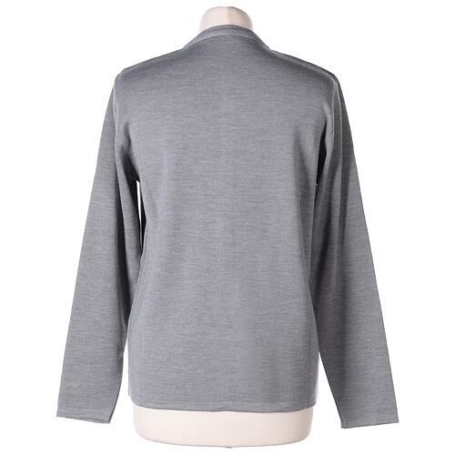 Cardigan soeur gris perle ras du cou poches jersey 50% acrylique 50% laine mérinos In Primis 6