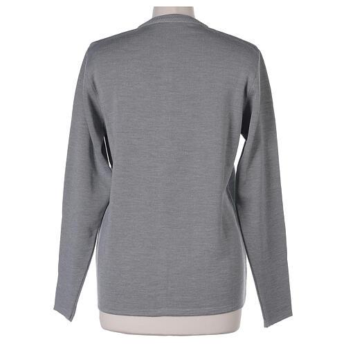 Cardigan soeur gris perle ras du cou poches jersey 50% acrylique 50% laine mérinos In Primis 13