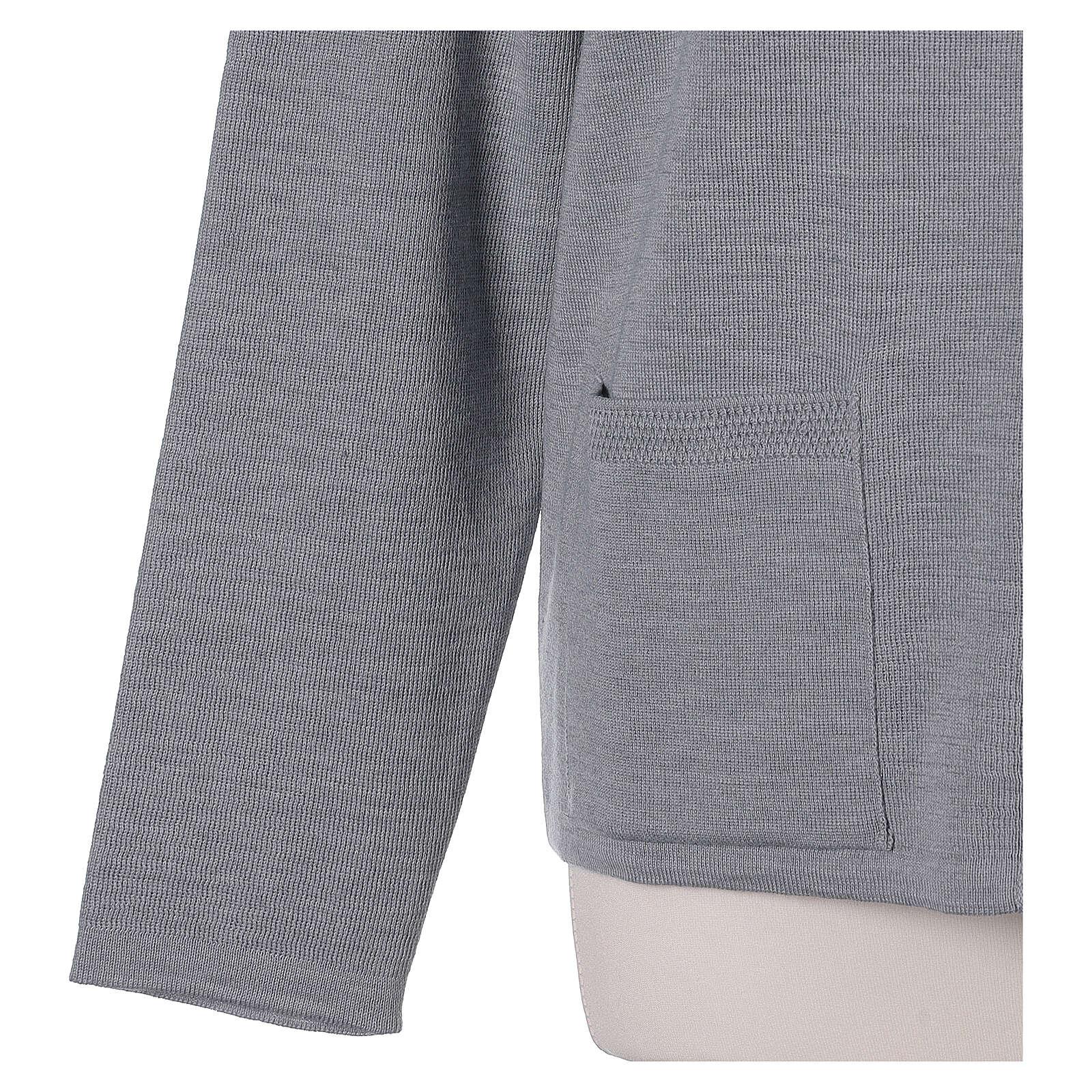 Kardigan siostra zakonna sweter perłowoszary kołnierzyk koreański kieszonki dzianina gładka 50% akryl 50% wełna merynos In Primis 4
