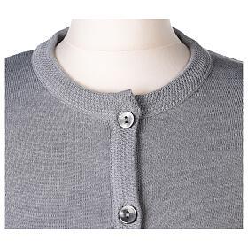 Kardigan siostra zakonna sweter perłowoszary kołnierzyk koreański kieszonki dzianina gładka 50% akryl 50% wełna merynos In Primis s2