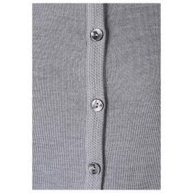 Kardigan siostra zakonna sweter perłowoszary kołnierzyk koreański kieszonki dzianina gładka 50% akryl 50% wełna merynos In Primis s4