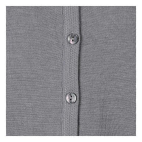 Kardigan siostra zakonna sweter perłowoszary kołnierzyk koreański kieszonki dzianina gładka 50% akryl 50% wełna merynos In Primis s11