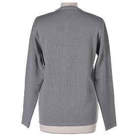 Kardigan siostra zakonna sweter perłowoszary kołnierzyk koreański kieszonki dzianina gładka 50% akryl 50% wełna merynos In Primis s13
