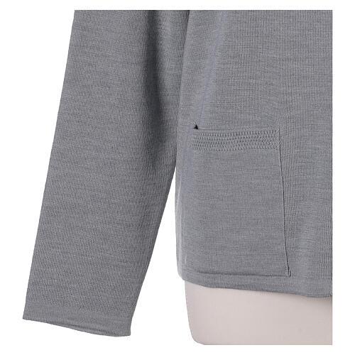 Kardigan siostra zakonna sweter perłowoszary kołnierzyk koreański kieszonki dzianina gładka 50% akryl 50% wełna merynos In Primis 12