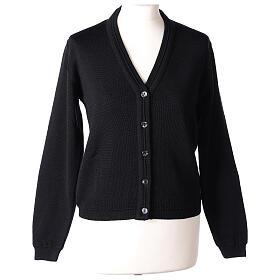 Cardigan court noir 50% laine mérinos 50% acrylique soeur In Primis s1