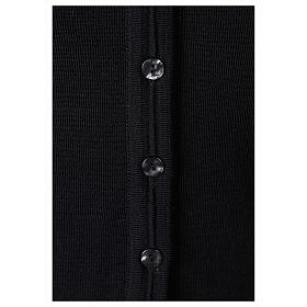 Cardigan court noir 50% laine mérinos 50% acrylique soeur In Primis s4