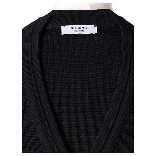 Cardigan court noir 50% laine mérinos 50% acrylique soeur In Primis 6