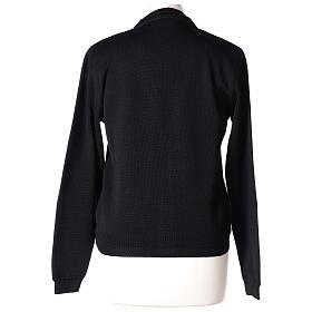 Casaco de malha curto preto decote em V para freira, 50% acrílico e 50% lã de merino, linha