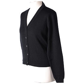 Short black cardigan 50% merino wool 50% acrylic for nun In Primis s3