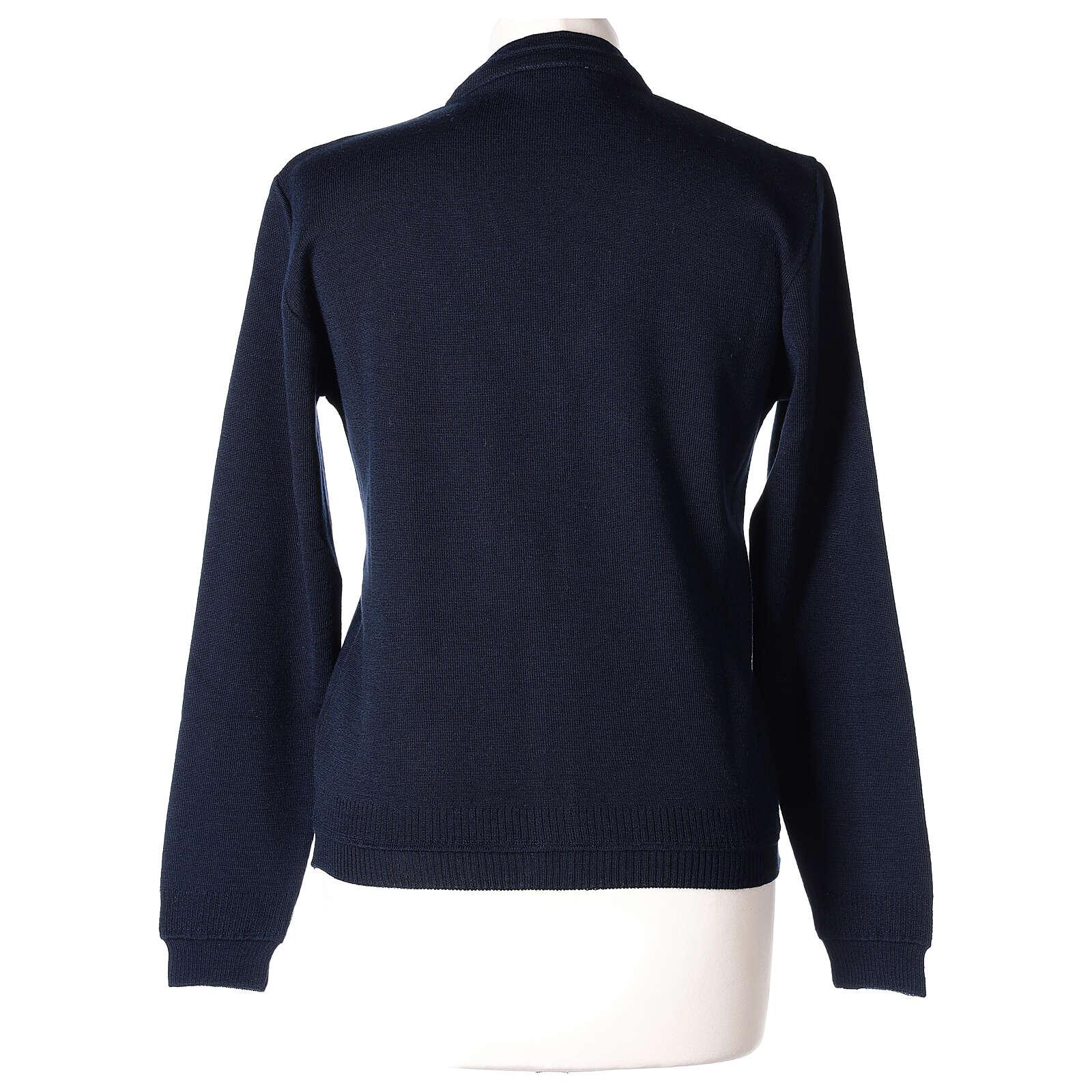 kurzer Damen-Cardigan, blau, mit V-Ausschnitt, 50% Acryl - 50% Merinowolle, In Primis 4