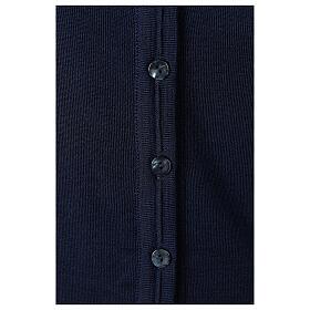 kurzer Damen-Cardigan, blau, mit V-Ausschnitt, 50% Acryl - 50% Merinowolle, In Primis s4