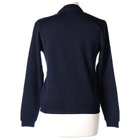 kurzer Damen-Cardigan, blau, mit V-Ausschnitt, 50% Acryl - 50% Merinowolle, In Primis s5