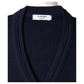 kurzer Damen-Cardigan, blau, mit V-Ausschnitt, 50% Acryl - 50% Merinowolle, In Primis s6
