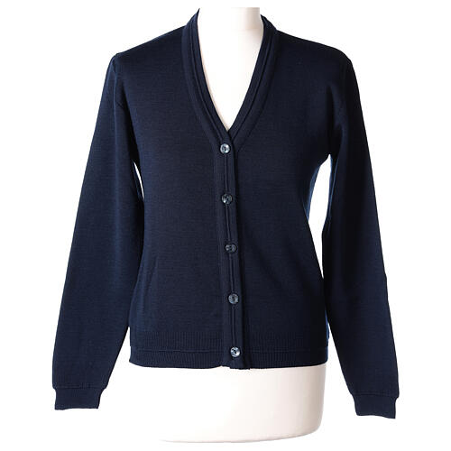 kurzer Damen-Cardigan, blau, mit V-Ausschnitt, 50% Acryl - 50% Merinowolle, In Primis 1