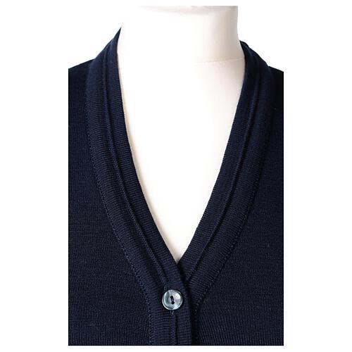 kurzer Damen-Cardigan, blau, mit V-Ausschnitt, 50% Acryl - 50% Merinowolle, In Primis 2
