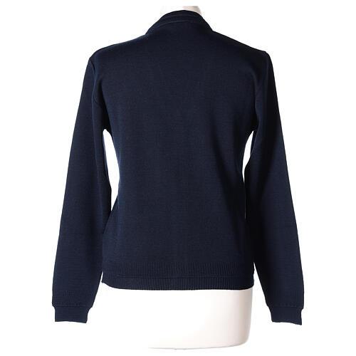 kurzer Damen-Cardigan, blau, mit V-Ausschnitt, 50% Acryl - 50% Merinowolle, In Primis 5