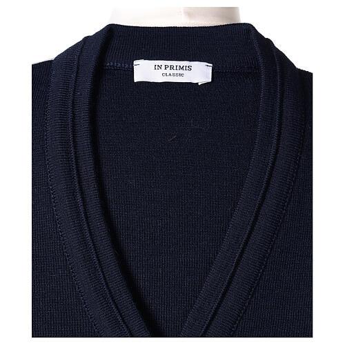 kurzer Damen-Cardigan, blau, mit V-Ausschnitt, 50% Acryl - 50% Merinowolle, In Primis 6