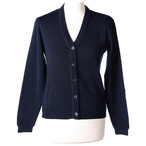 Cardigan court bleu 50% laine mérinos 50% acrylique soeur In Primis 1