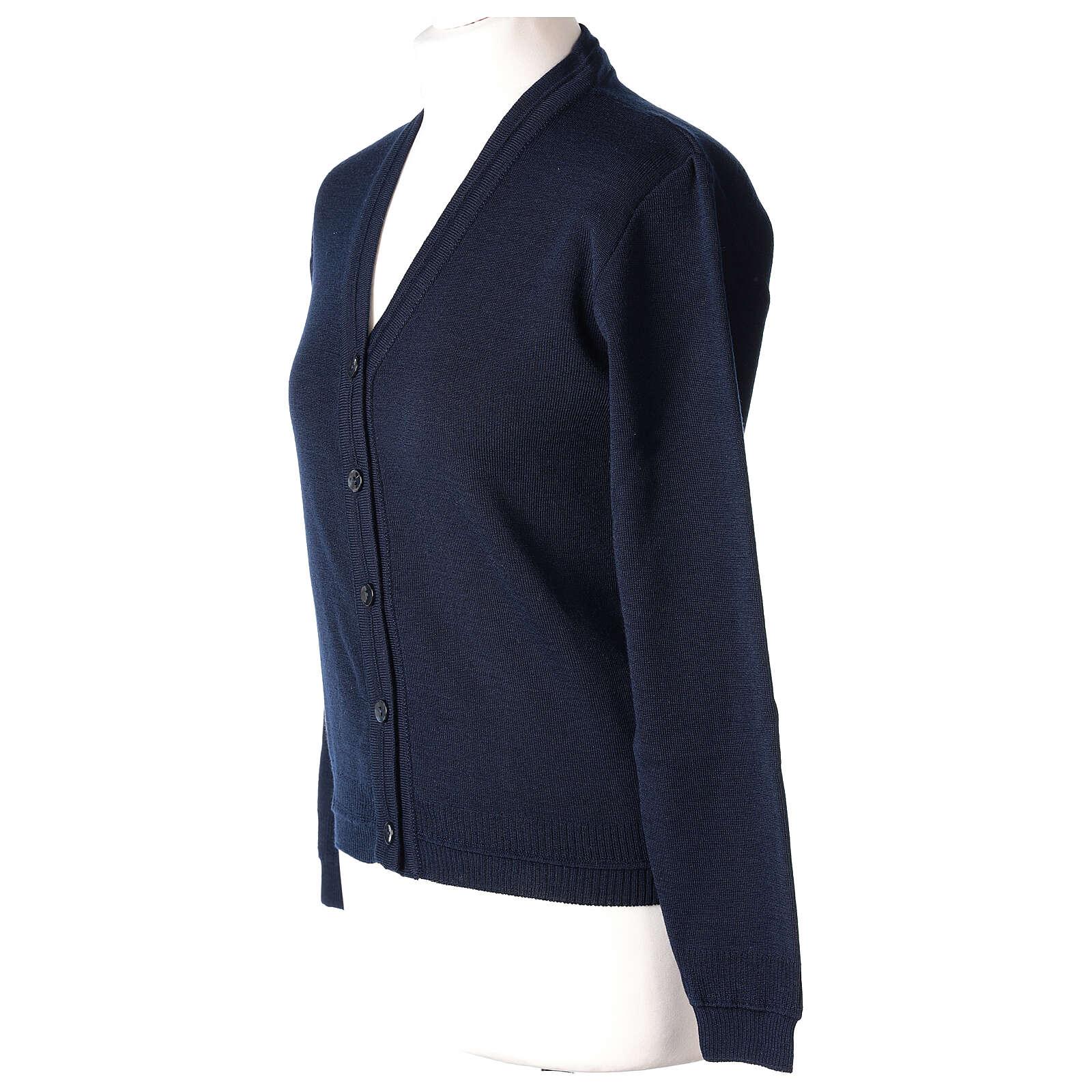 Casaco de malha curto azul decote em V para freira, 50% acrílico e 50% lã de merino, linha
