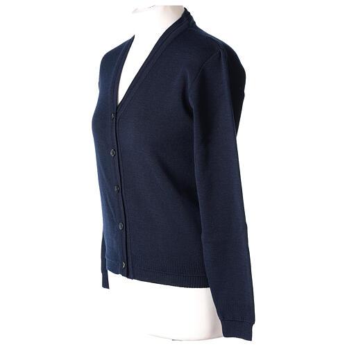 Casaco de malha curto azul decote em V para freira, 50