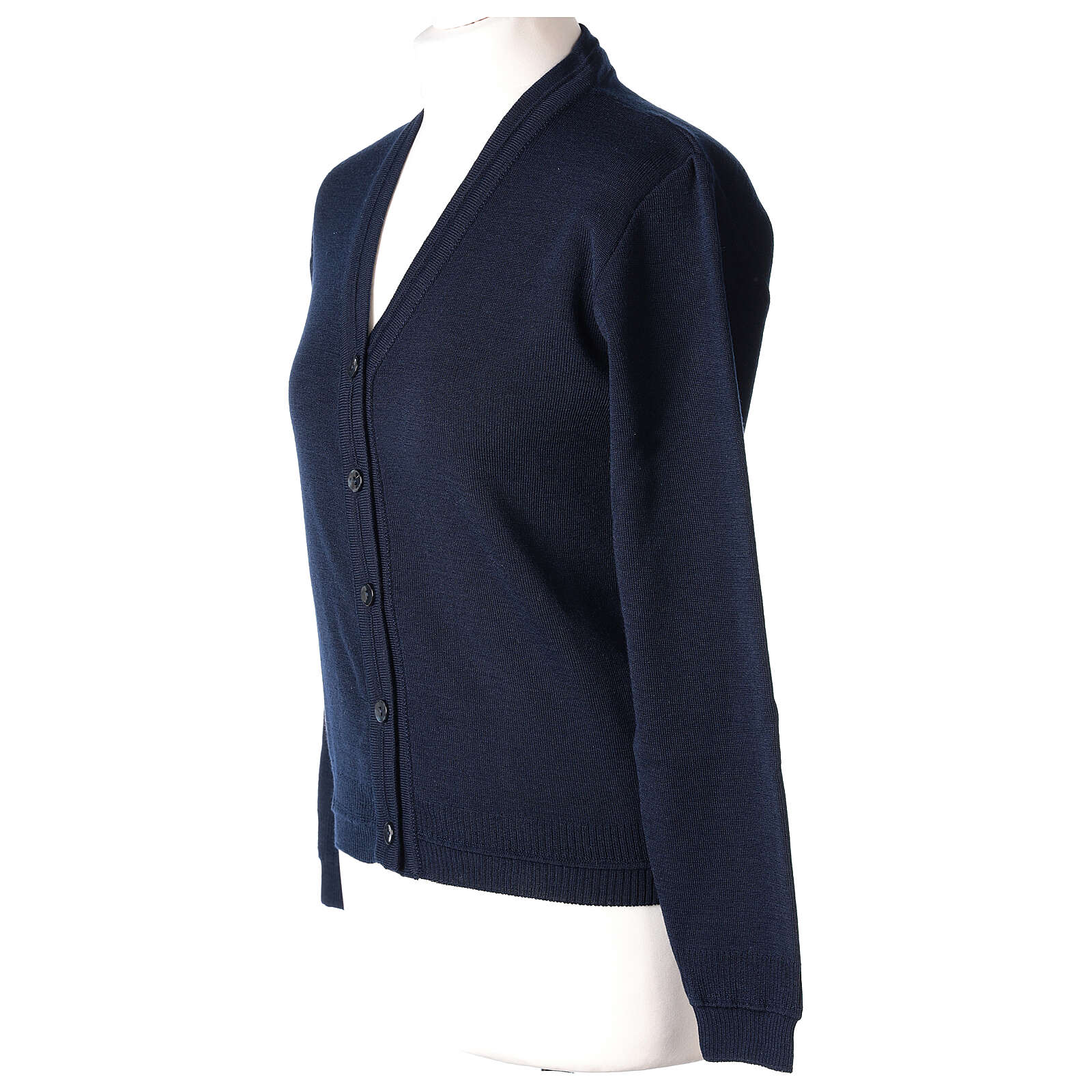 Short blue cardigan 50% merino wool 50% acrylic for nun In Primis 4