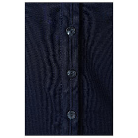 Short blue cardigan 50% merino wool 50% acrylic for nun In Primis s4