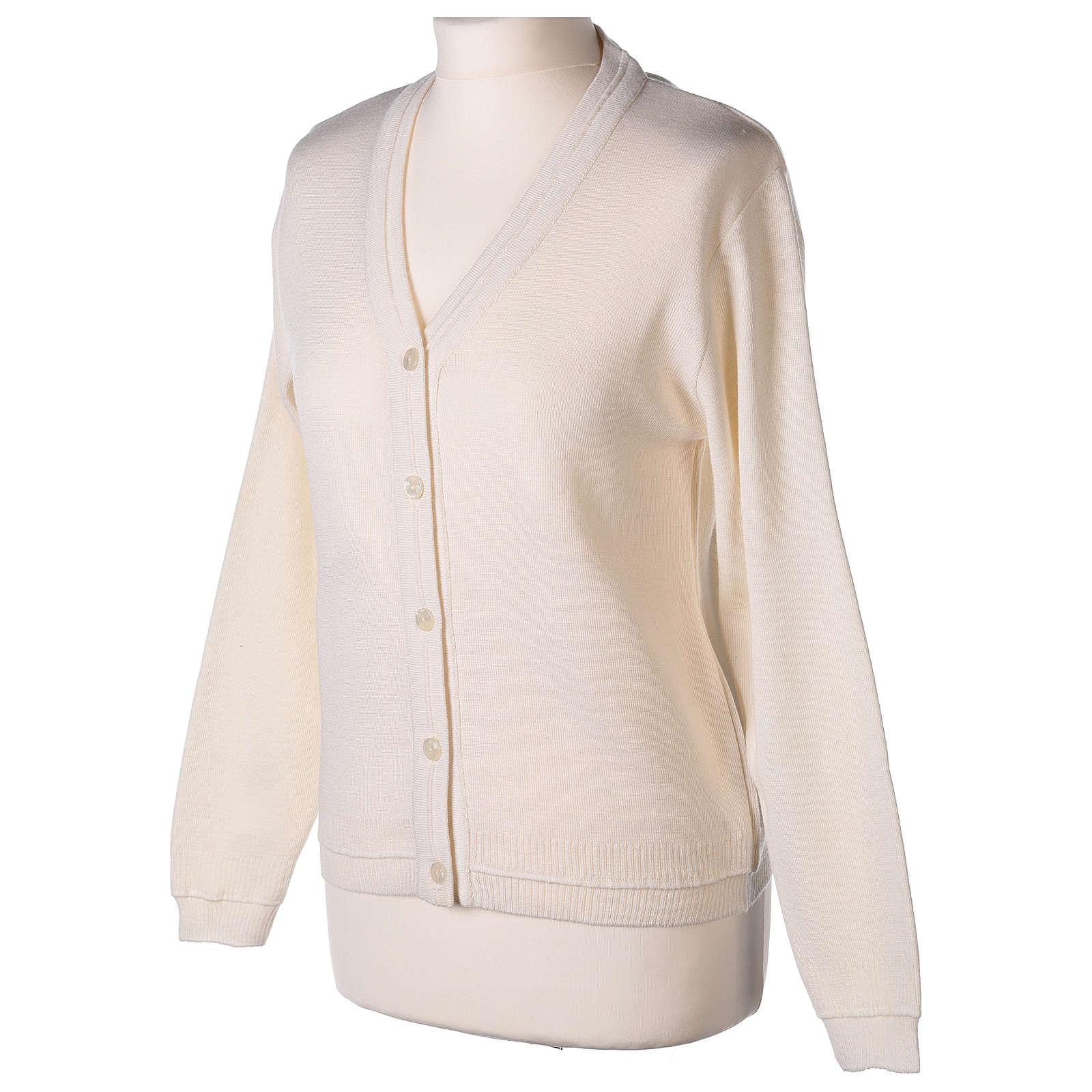 kurzer Damen-Cardigan, weiß, mit V-Ausschnitt, 50% Acryl - 50% Merinowolle, In Primis 4