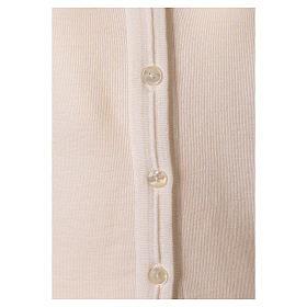 kurzer Damen-Cardigan, weiß, mit V-Ausschnitt, 50% Acryl - 50% Merinowolle, In Primis s4