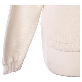 kurzer Damen-Cardigan, weiß, mit V-Ausschnitt, 50% Acryl - 50% Merinowolle, In Primis s5
