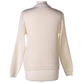 kurzer Damen-Cardigan, weiß, mit V-Ausschnitt, 50% Acryl - 50% Merinowolle, In Primis s6