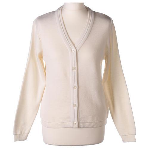 kurzer Damen-Cardigan, weiß, mit V-Ausschnitt, 50% Acryl - 50% Merinowolle, In Primis 1