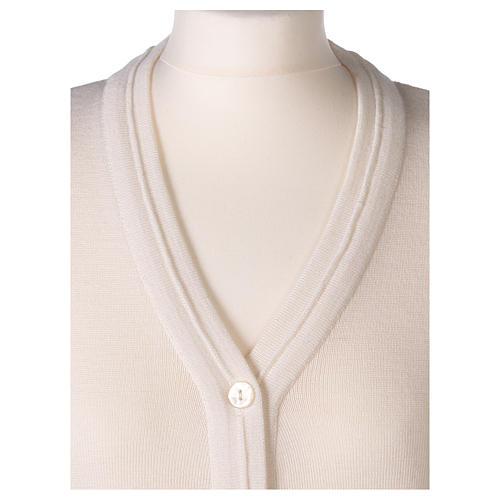 kurzer Damen-Cardigan, weiß, mit V-Ausschnitt, 50% Acryl - 50% Merinowolle, In Primis 2