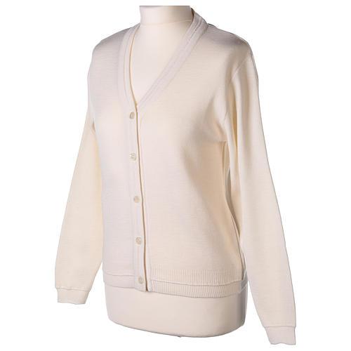 kurzer Damen-Cardigan, weiß, mit V-Ausschnitt, 50% Acryl - 50% Merinowolle, In Primis 3