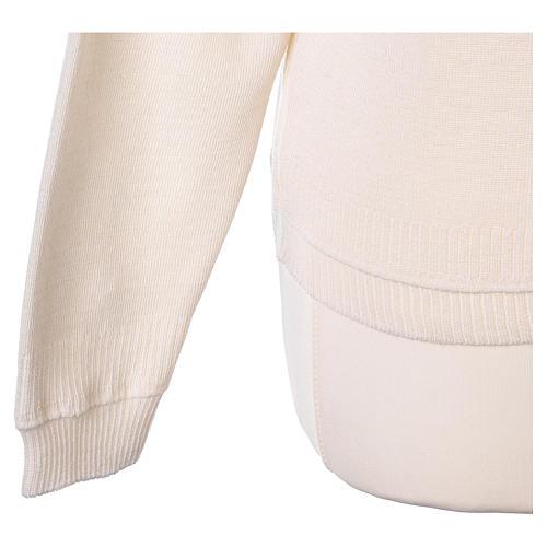 kurzer Damen-Cardigan, weiß, mit V-Ausschnitt, 50% Acryl - 50% Merinowolle, In Primis 5