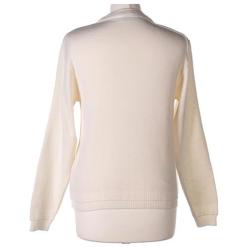 kurzer Damen-Cardigan, weiß, mit V-Ausschnitt, 50% Acryl - 50% Merinowolle, In Primis 6