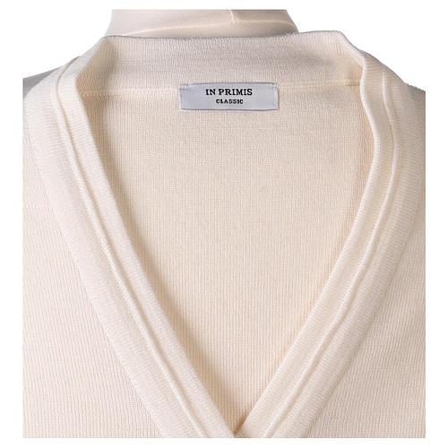 kurzer Damen-Cardigan, weiß, mit V-Ausschnitt, 50% Acryl - 50% Merinowolle, In Primis 7