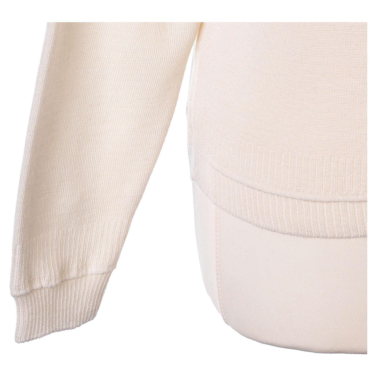 Cardigan court blanc 50% laine mérinos 50% acrylique soeur In Primis 4