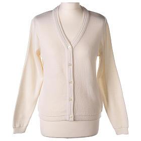 Cardigan court blanc 50% laine mérinos 50% acrylique soeur In Primis s1
