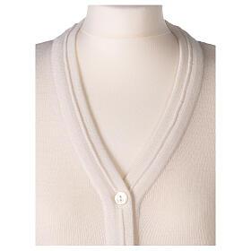 Cardigan court blanc 50% laine mérinos 50% acrylique soeur In Primis s2