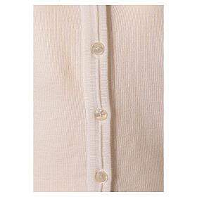 Cardigan court blanc 50% laine mérinos 50% acrylique soeur In Primis s4