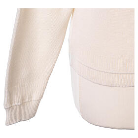 Cardigan court blanc 50% laine mérinos 50% acrylique soeur In Primis s5