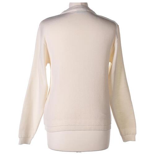 Cardigan court blanc 50% laine mérinos 50% acrylique soeur In Primis 6