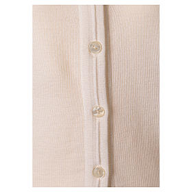 Giacca corta bianca 50% lana merino 50% acrilico suora In Primis s4