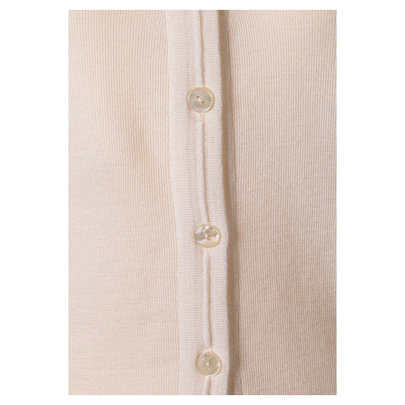 Sweter krótki biały 50% wełna merynos 50% akryl siostra zakonna In Primis 4