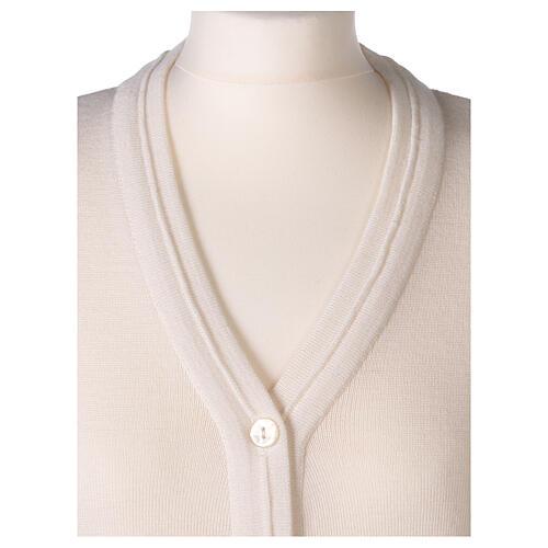 Sweter krótki biały 50% wełna merynos 50% akryl siostra zakonna In Primis 2