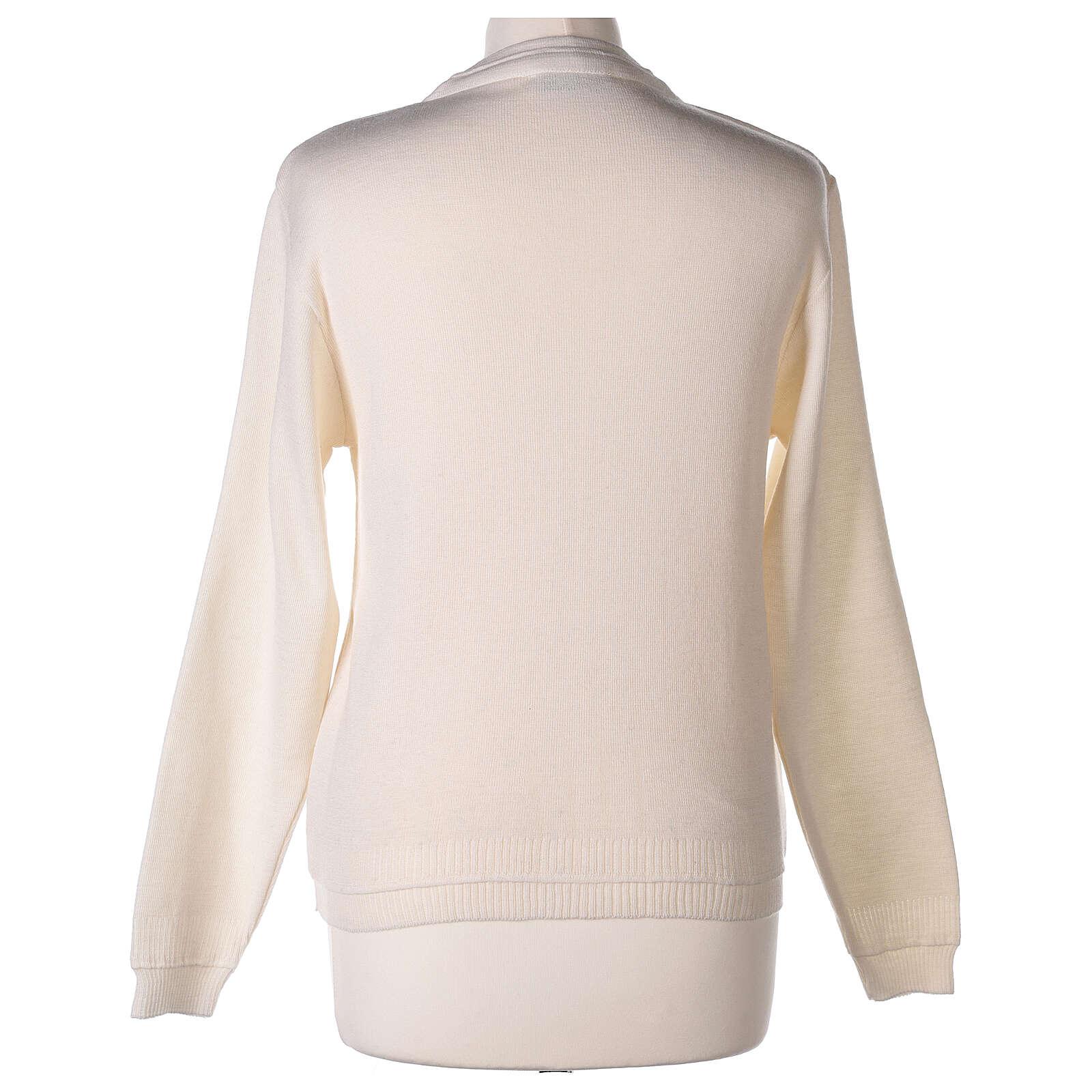 Casaco de malha curto branco decote em V para freira, 50% acrílico e 50% lã de merino, linha