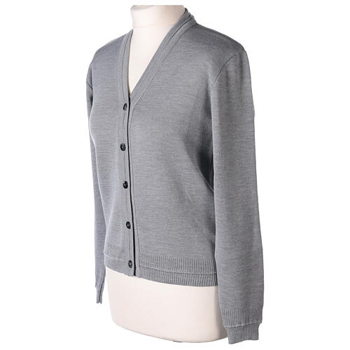 Chaqueta corta gris perla 50% lana merina 50% acrílico monja In Primis 3