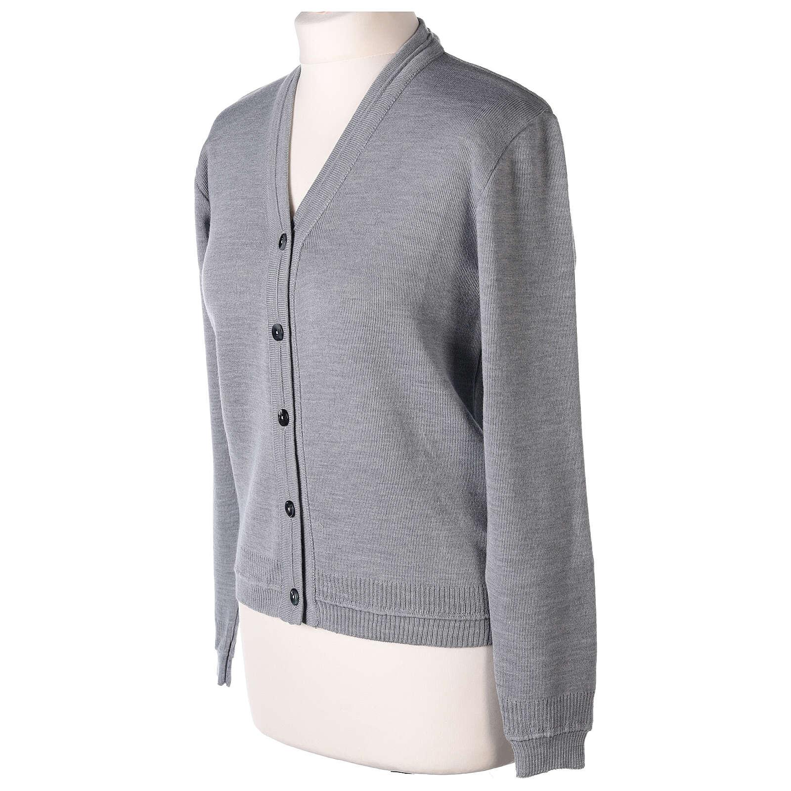Cardigan court gris perle 50% laine mérinos 50% acrylique soeur In Primis 4