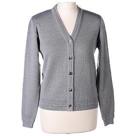 Cardigan court gris perle 50% laine mérinos 50% acrylique soeur In Primis s1