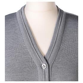 Cardigan court gris perle 50% laine mérinos 50% acrylique soeur In Primis s2